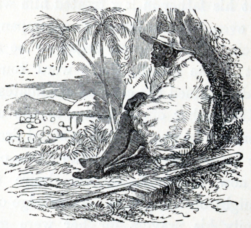 Anna Martin Hinderer (1827–1870) was a British missionary to Ibadan in Nigeria. In 1852, she and her husband, David, set out to establish a new mission in the Bight of Benin hinterland. Anna briefly stayed at Abeokuta. In 1853, she arrived in Ibadan where they built a Christian settlement. In the 1850s, David estimated Ibadan's population was around 55,000. Anna would teach in the school that they built and she would run the mission when David was away preaching or trying to translate the New Testament. Her husband could speak Yoruba and he was on good terms with the local dignitaries. This advantage meant that the children of local chiefs attended and sometimes boarded at the school which Anna ran. The first two Christian converts were Yejide and Akielle who were the son and daughter of a local chief. Although the engraving is from the mid nineteenth century, this untitled image depicts a man sitting against a tree wrapped in a blanket and wearing a wide brimmed hat.
