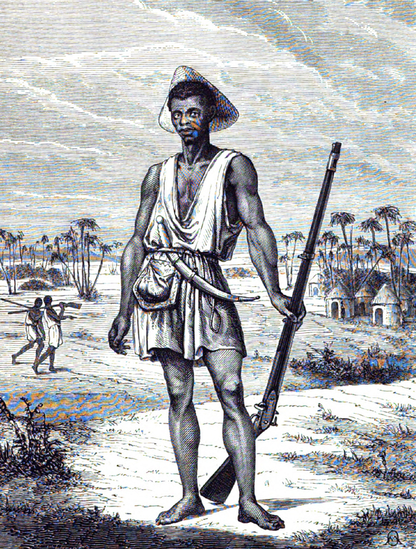 From the series published in the Le Tour du Monde, nouveau journal des voyages was a French weekly travel journal first published in January 1860. These depictions originated from the series by Dr. Répin, an ex-surgeon in the French imperial navy. This engraving depicts a soldier from Dahomey holding a musket.