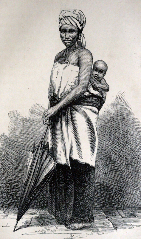Anna Martin Hinderer (1827–1870) was a British missionary to Ibadan in Nigeria. In 1852, she and her husband, David, set out to establish a new mission in the Bight of Benin hinterland. Anna briefly stayed at Abeokuta. In 1853, she arrived in Ibadan where they built a Christian settlement. In the 1850s, David estimated Ibadan's population was around 55,000. Anna would teach in the school that they built and she would run the mission when David was away preaching or trying to translate the New Testament. Her husband could speak Yoruba and he was on good terms with the local dignitaries. This advantage meant that the children of local chiefs attended and sometimes boarded at the school which Anna ran. The first two Christian converts were Yejide and Akielle who were the son and daughter of a local chief. Although the engraving is from the mid nineteenth century, this image depicts a Yoruba-speaking woman with her child. She is dressed in gele, buba and iro, while the mother back's her baby using a kanga.    See Hinderer, Anna. Seventeen Years in the Yoruba Country: Memorials of Anna Hinderer, Wife of the Rev. David Hinderer, C.m.s. Missionary in Western Africa. London: Seeley, Jackson, and Halliday, 1872.
