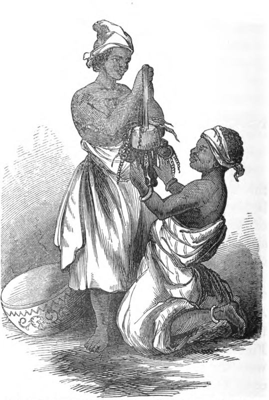 Mary Ann Serrett Barber wrote her book about the farming village, Osiele, to the east of Abeokuta. She never traveled to West Africa. She compiled her materials from the journals and letters of Henry Townsend, who was based at Abeokuta between 1846 and 1867; and Charles Andrew Gollmer who was based there between 1845 and 1861. They worked closely with Samuel Ajayi Crowther. This engraving is a depiction whereby the idol does not clearly represent any specific orisha.   See Barber, Mary Ann Serrett, d. 1864. Oshielle, Or, Village Life In the Yoruba Country: From the Journals And Letters of a Catechist There, Describing the Rise of a Christian Church In an African Village. London: J. Nisbet and co., 1857.