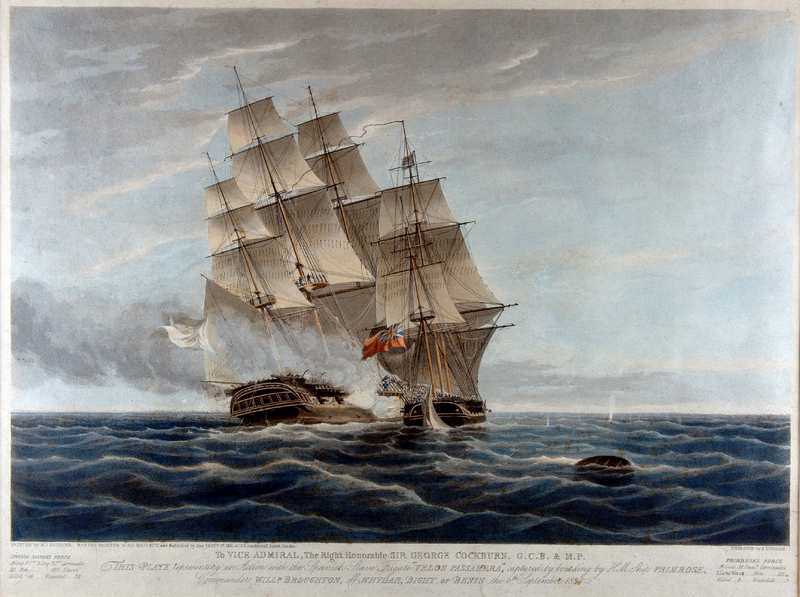The Capture of Veloz Passagera was a single ship action that occurred during the British Royal Navy's anti-slavery blockade of Africa in the early and mid nineteenth century. The sloop-of-war HMS Primrose, of eighteen guns, under Captain William Broughton, captured the twenty-gun Cuban slave ship Veloz Passagera, Jozé Antonio de la Vega, master. This ship left the port of Jakin between Ouidah and Porto Novo with 556 people on board. At Freetown, the people were registered and the vast majority had Yoruba names.   Original painting held at the Royal Naval Museum and open source via LiberatedAfricans.org.