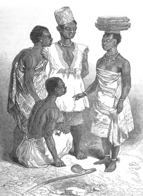 The Church Missionary Society published The Church Missionary Gleaner, from April 1841 to September 1857. This image depicts the inhabitants of Abeokuta standing around. Note their various facial scarifications, including three lines on the cheek which denote Oyo affiliation.