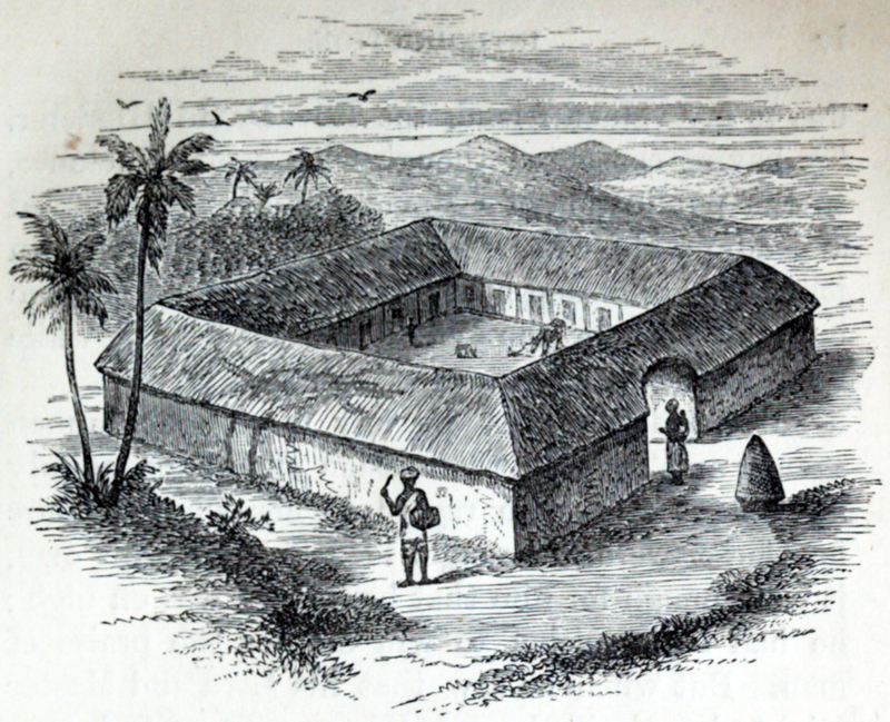 Anna Martin Hinderer (1827–1870) was a British missionary to Ibadan in Nigeria. In 1852, she and her husband, David, set out to establish a new mission in the Bight of Benin hinterland. Anna briefly stayed at Abeokuta. In 1853, she arrived in Ibadan where they built a Christian settlement. In the 1850s, David estimated Ibadan's population was around 55,000. Anna would teach in the school that they built and she would run the mission when David was away preaching or trying to translate the New Testament. Her husband could speak Yoruba and he was on good terms with the local dignitaries. This advantage meant that the children of local chiefs attended and sometimes boarded at the school which Anna ran. The first two Christian converts were Yejide and Akielle who were the son and daughter of a local chief. Although the engraving is from the mid nineteenth century,  this image depicts a typical family compound found within Yoruba speaking communities.