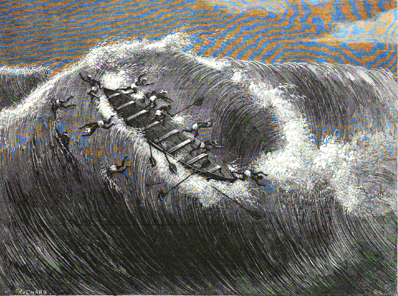 From the series published in the Le Tour du Monde, nouveau journal des voyages was a French weekly travel journal first published in January 1860. These depictions originated from the series by Dr. Répin, an ex-surgeon in the French imperial navy. This engraving depicts a canoe overturning in rough surf in front of the sand bard at Ouidah.