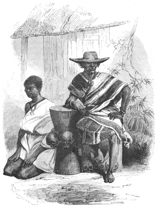 From the series published in the Le Tour du Monde, nouveau journal des voyages was a French weekly travel journal first published in January 1860. These depictions originated from the series by Dr. Répin, an ex-surgeon in the French imperial navy. This image depicts king Gezo of Dahomey, who asserted independence from Oyo in 1823.