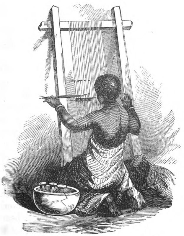Mary Ann Serrett Barber wrote her book about the farming village, Osiele, to the east of Abeokuta. She never traveled to West Africa. She compiled her materials from the journals and letters of Henry Townsend, who was based at Abeokuta between 1846 and 1867; and Charles Andrew Gollmer who was based there between 1845 and 1861. They worked closely with Samuel Ajayi Crowther. This engraving is a depiction of a woman working at a vertical loom leaning against a wall with a calabash at her left side.