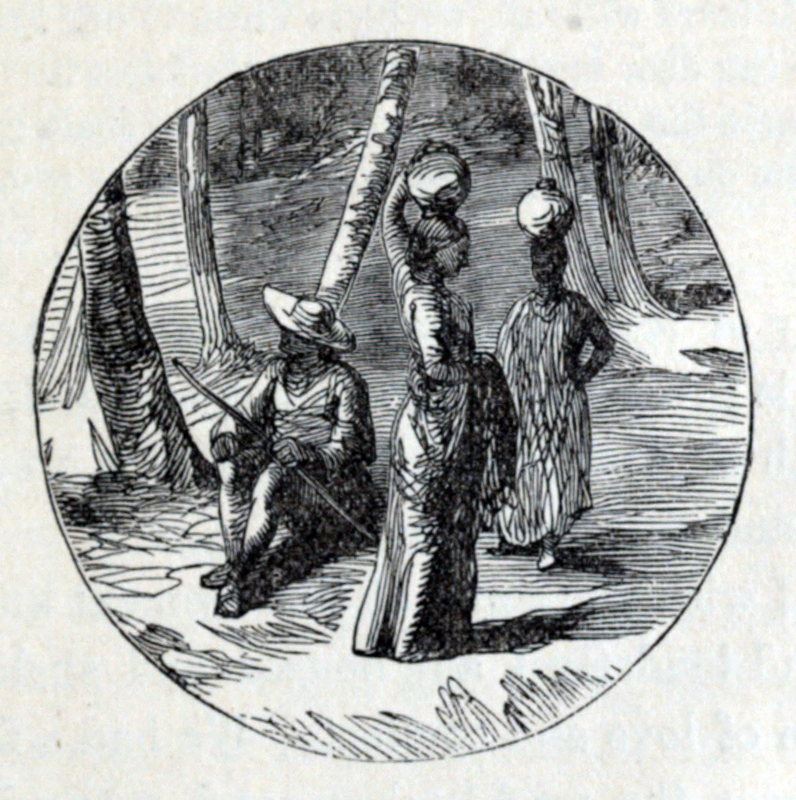 This untitled, circular vignette shows a woman carrying pots with a man sitting and leaning against a tree.  Anna Martin Hinderer (1827–1870) was a British missionary to Ibadan in Nigeria. In 1852, she and her husband, David, set out to establish a new mission in the Bight of Benin hinterland. Anna briefly stayed at Abeokuta. In 1853, she arrived in Ibadan where they built a Christian settlement. In the 1850s, David estimated Ibadan's population was around 55,000. Anna would teach in the school that they built and she would run the mission when David was away preaching or trying to translate the New Testament. Her husband could speak Yoruba and he was on good terms with the local dignitaries. This advantage meant that the children of local chiefs attended and sometimes boarded at the school which Anna ran. The first two Christian converts were Yejide and Akielle who were the son and daughter of a local chief.